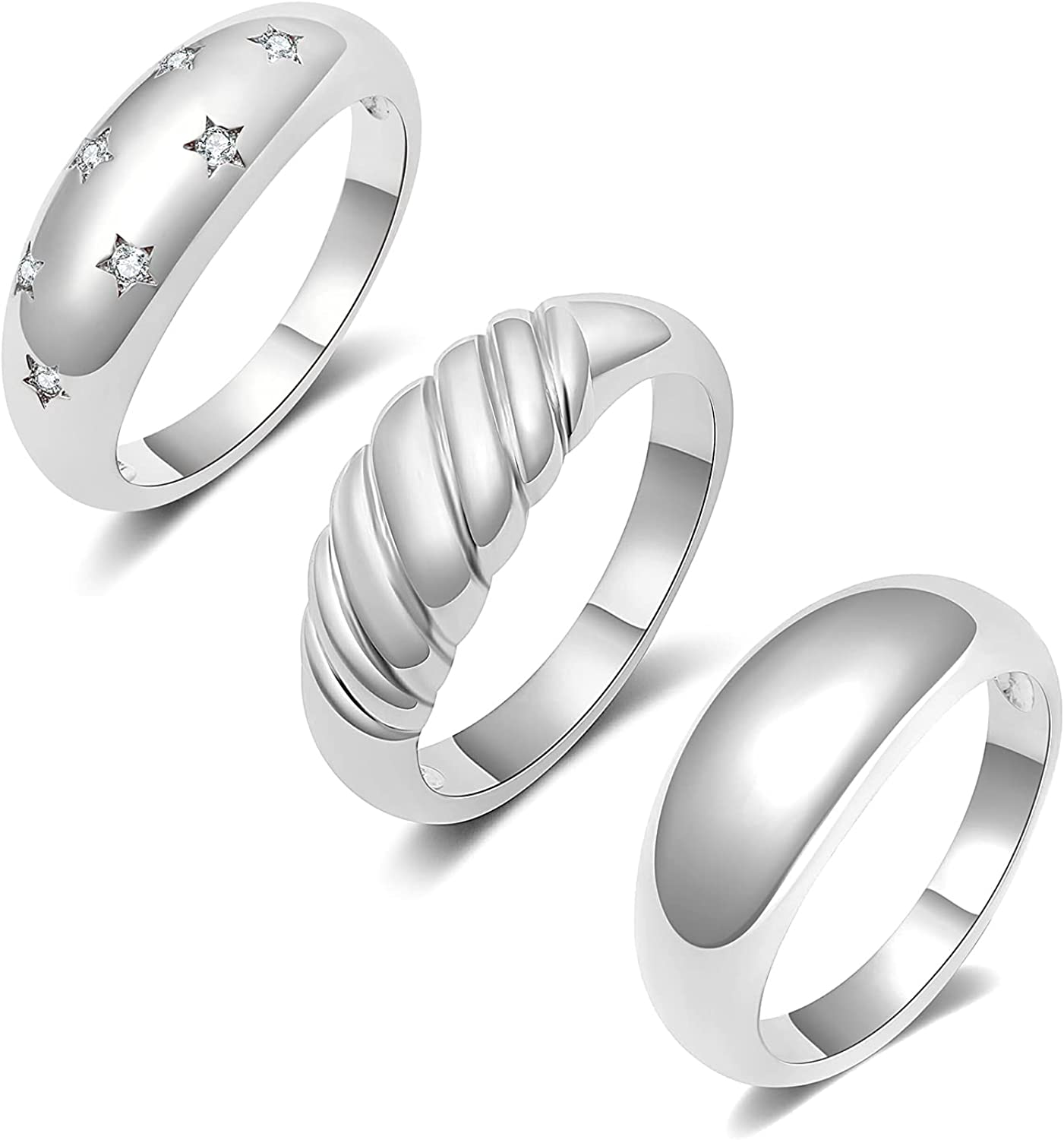 Recommended Gold Chunky Ring Max 74% OFF Set Silver Croissant Dome Star S
