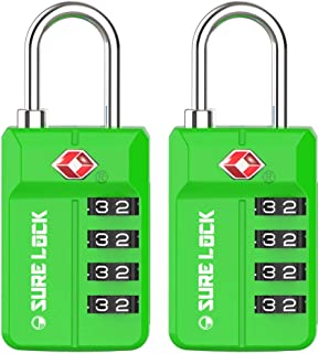 TSA Approved Travel Luggage Locks, Open Alert Combination Lock for School Office & Gym Locker,Toolbox, Pelican Case,Easy Read Dials- 1, 2 & 4 Pack