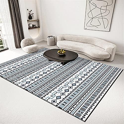 alfombras Pasillo largas y Modernas Alfombra Azul Clara, Alfombra Antideslizante a Prueba de Polvo Informal Alfombra de Juego Bebe -Azul Claro_140x200cm