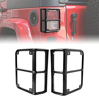 JeCar Jeep Tail Lights Protector Metal Taillight Rear Lamp Cover Guard for 2007-2017 Wrangler JK & JK Unlimited-Pair(Black)