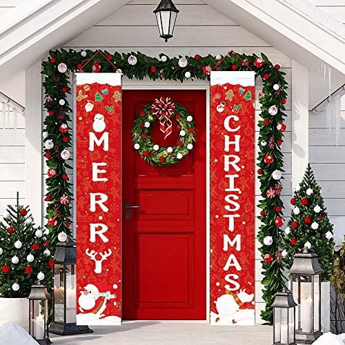 Christmas Porch Sign, 12''x72'' Merry Christmas Banners, Outdoor/Indoor New Year Xmas Decorations Welcome Banner Front Door Hanging Garland for Winter Christmas Party Holiday Garage Wall Decor (Red)