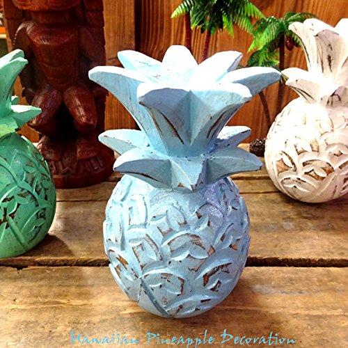 HAWAIIAN Pineapple Decoration パイナップルデコレーションオーナメント(ブルー)【置物、ハワイアン雑貨、飾り、木彫り、インテリア雑貨】