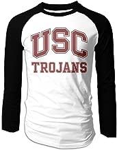 Creamfly Mens USC Trojans Logo Long Sleeve Raglan Baseball Tshirt