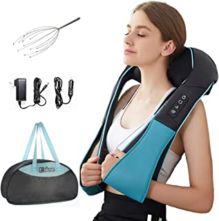 Shiatsu Back Shoulder and Neck Massager with Heat Deep Tissue 3D Kneading Pillow Massager for Relieving Muscle Pain - Blue