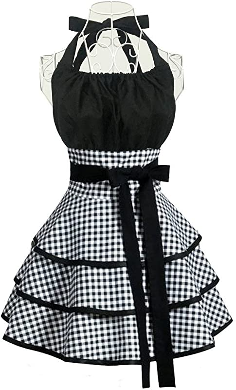 Aprons For Women Girls Plus Size Retro Vintage Cooking Aprons With Pockets Extra Ties Kitchen Aprons For Baking Apron Dress 22x30 Inch Black