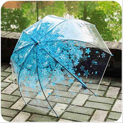 QNBD Schöne Kirschblüte Transparent Langen Regenschirm Griff Kinder Nette AnimeMädchen Prinzessin Regenschirme Anti-UV Wasserdicht