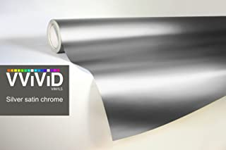 VViViD Silver Satin Chrome Vinyl Wrap Stretch Conform DIY Easy to Use Air-Release Adhesive (1.49ft x 5ft)