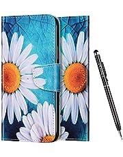 Uposao Funda para iPhone XR,Carcasa iPhone XR Dibujo Animados Funda de Cuero con Tapa Cierre Magnético y Ranuras para Tarjetas y Función de Soporte Libro Flip Funda,Flores Blanca