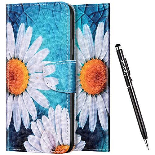 Uposao Kompatibel mit Huawei Honor 8X Hülle Leder Schutzhülle Leder Handyhülle Bunt Muster Flip Wallet Bookstyle Case Handyhülle Lederhülle Tasche Klapphülle Handytasche,Weiß Blume