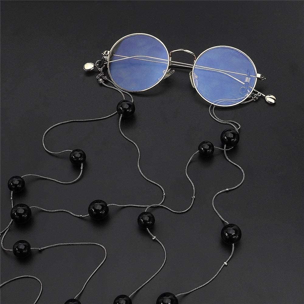 Pretty Glasses Chain Eyeglass Chain Metal Pearl Sweater Chain Glasses Chain, Two Use Pearl Double Layer Glasses Chain, for Women Eyeglass ASDDD (Color : Black, Size : Free Size)
