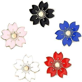 Angoter Fiore Spilla Pin Set Modello Piuttosto Fiore di Ciliegio Sakura Serie Perni del Risvolto Set Badges Abbigliamento ...