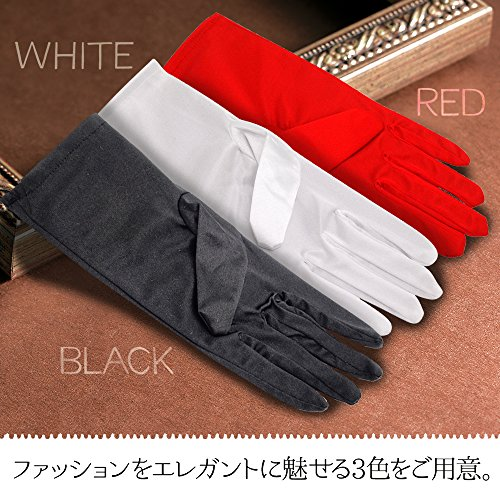 『(SOWAKA) コスプレ 小物 手袋 サテン ストレッチ ショート グローブ フリーサイズ (ブラック)』の5枚目の画像