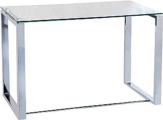 Benetto, Mesa de Cristal para Estudio, Escritorio, Despacho o Oficina, Acabado en Cristal y Cromo, Medidas: 100 cm (Largo)...