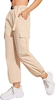 MAKEMECHIC Women's Casual Pocket Detail Sweatpant Belted Elastic Waist Solid Cargo Pants