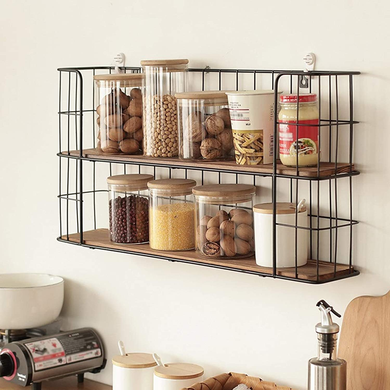 Wall shelf- Metal Wall Shelf Kitchen Dining Room Bedroom Double Floor Wall-Mounted Storage Rack 60  12  30cm