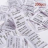Bolsas de gel de sílice, 200 bolsitas de gel de sílice, desecante, absorbe la humedad, deshumidificador, olores de moho para armario de alimentos (3 x 4 cm), color blanco