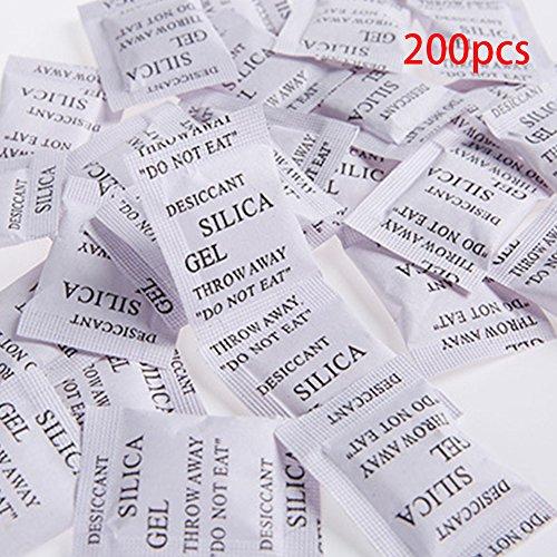 Tookie 200PCS, multiuso, sacchetti di gel di silice essiccazione Essiccante gel di silice bags-1g bustine–deumidificatore deumidificatore gli odori di muffa, White, 200pz