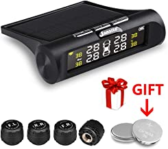 Jansite TPMS Solar Tire Pressure Monitoring System, Universal Wireless LCD Display 4pcs Waterproof External Sensors Real-time Detection Tire Pressure Temperature Auto Security Alarm Systems 0-62 PSI