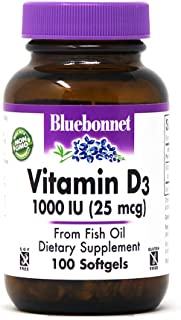 Bluebonnet Nutrition Vitamin D3 1000 IU Softgels, Aids in Muscle and Skeletal Growth, Cholecalciferol from Fish Oil, Non G...