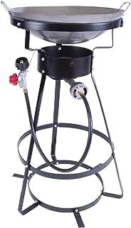Single Burner Camp Stove with Cast Iron Burner, Wok Included