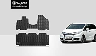 ToughPRO Floor Mats 1st and 2nd Row Compatible with Honda Odyssey 8 Seater - All Weather - Heavy Duty - (Made in USA) - Black Rubber - 2011, 2012, 2013, 2014, 2015, 2016, 2017