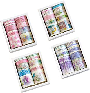 Romantic Floral Masking Washi Tape Set (4 Box, Assorted 40 Rolls) Pink Sakura Japanese Girl Pot Plant Lavender DIY Label Sticker Decor for Scrapbooking Journal Planner Album Diary Book (A)