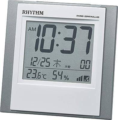 リズム(RHYTHM) 置き時計 シルバー 10.1x10x5.2cm 目覚まし時計 小型 温度 湿度 カレンダー 電子音アラーム 8RZ218SR19