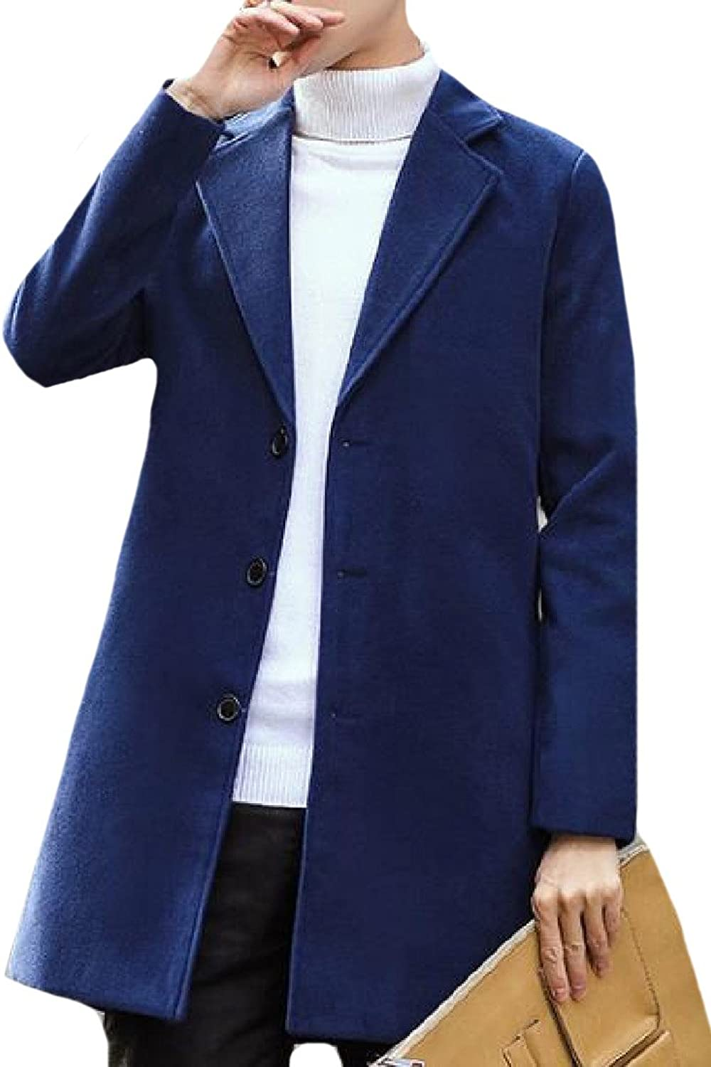 Abetteric Men Handsome Open Front Pure color Wool Blended Trench Coat