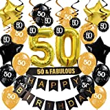 JOYMEMO Decoraciones de 50 años Negro y Dorado 50 Remolinos Colgantes Número 50 Faja de Globos para Hombres o Mujeres Suministros para Fiestas de 50 años