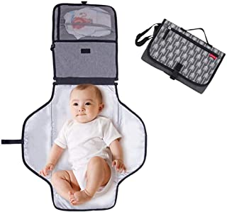 DELFINO Premium Portable Baby Changing Mat with Padded Head Cushion Foldable Waterproof Infant Changing Diaper Nappy Mat P...