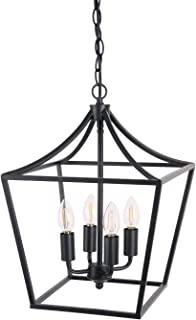 Homenovo Lighting Marden 4-Light Chandelier, Industrial Style Lighting for Entryway,Hallway and Dining Room - Matte Black Finish