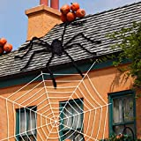 Joyjoz Telaraña de Halloween con araña Gigante, Tela de araña densa Estirable de 200 pies...