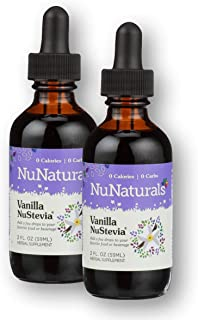 NuNaturals Vanilla Stevia Drops - All Natural Liquid Sweetener - 2 oz (2 Pack)