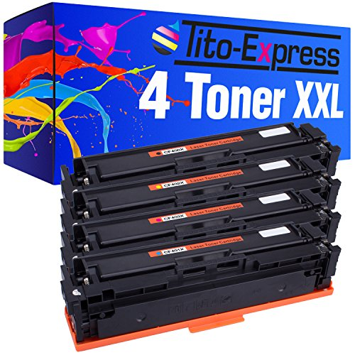 Tito-Express PlatinumSerie 4 Toner XXL kompatibel mit HP CF400X CF401X CF402X CF403X 201X Color Laserjet Pro M250 M252N M252DW M270 M274N M274DN MFP M277N M277DW| Black 2.800, Color 2.300 Seiten