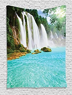 Ambesonne Waterfall Decor Collection, Ban Gioc- Detian Waterfall Forest Tropical Waterscape Clear Pool Picture, Bedroom Living Kids Girls Boys Room Dorm Accessories Wall Hanging Tapestry, Turquoise