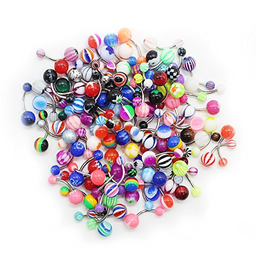 SHINEstyle 100 Pcs 14G Mixed Belly Button Navel Rings Barbells Body Piercing
