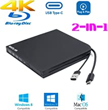 Ultra Slim External 4K UHD 3D Blu-ray Movies Disc Player Optical Drive, for Alienware M15 M17 P37E P79F Area-51M 13 15 17 R3 R4 R5 2018 2019 Gaming Laptop, USB-C 2-in-1 6X BD-R DL Blue-ray Burner