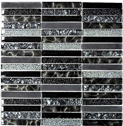 Mosaik Fliese Transluzent schwarz Stäbchen Glasmosaik Crystal Night black für WAND BAD WC DUSCHE KÜCHE FLIESENSPIEGEL THEKENVERKLEIDUNG BADEWANNENVERKLEIDUNG Mosaikmatte Mosaikplatte