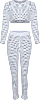 HAODIAN Women's Beach Fishnet Swimsuit Cover Up Set Mesh Crop Top Long Pant Two Piece Outfits