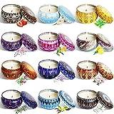Set regalo di candele profumate 2,5ozx 12pezzi di candela profumata di cera di soia naturale candela profumata, riduce lo stress dello yoga in bagno e aiuta a dormire
