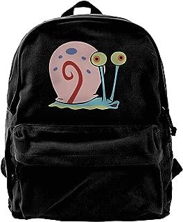 Men's Spongebob- Gary Black Background Leisure Cotton Canvas Bags For Schools