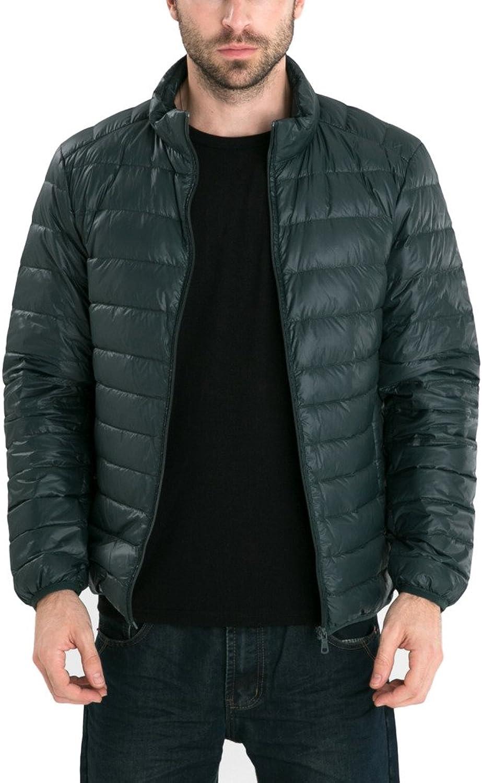 Hengjia Men's Retro Lightweight Packable Down Puffer Coat Stylish Outerwear Jacket