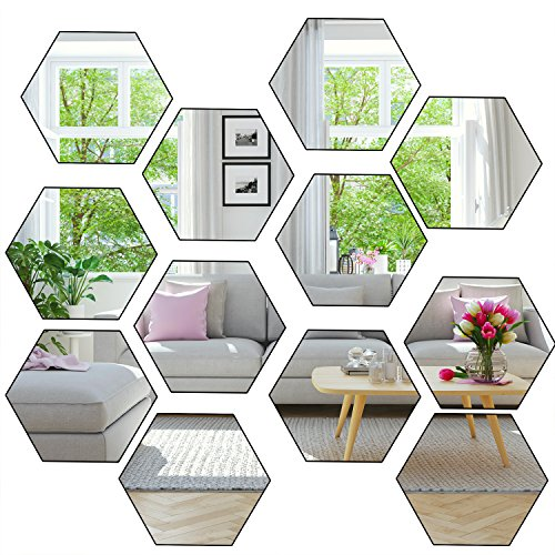 Aneco 24 Sheets Flexible Mirror Sheets Mirror Wall Stickers Self Adhesive Plastic -
