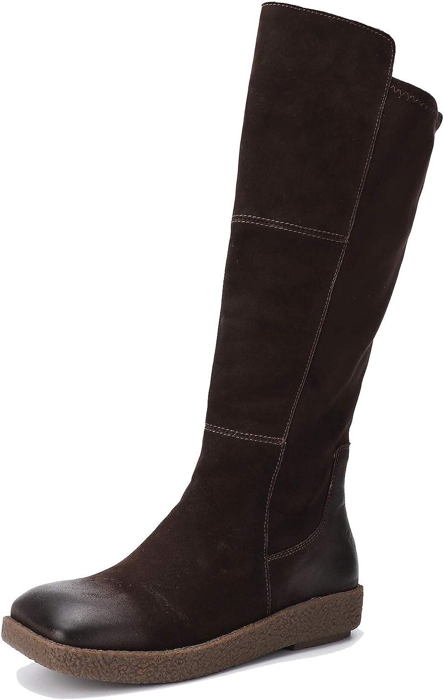 Go to Past Damen Herbst und Winter Flache Stiefel mit Gummisohle und Karree Echtleder Vintage Stiefel Fashion handgemachte Schuhe - Rohrhhe 38cm