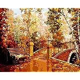 DIY 数字油絵 キャンバスの油絵 大人の子供のためのギフト 初心者 数字キットでペイント ホームデコレーション - 小さな橋ラウンジチェア 40* 50 cm(フレームレス)