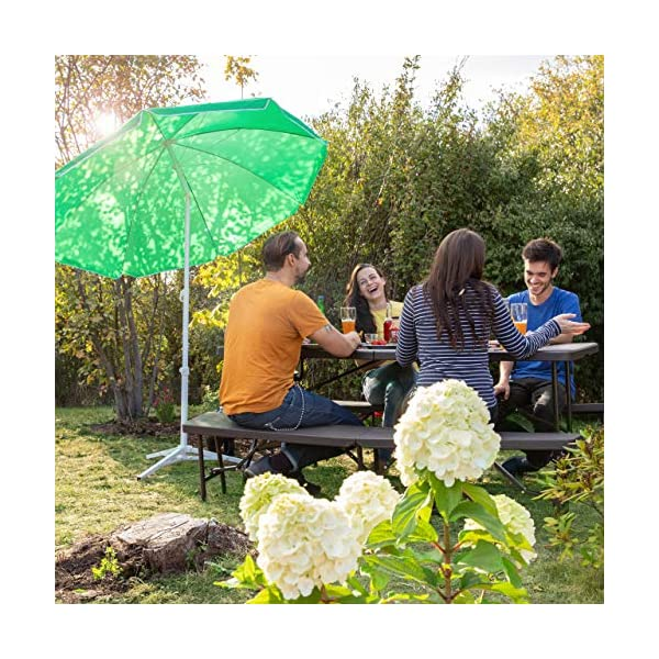 Relaxdays Sonnenschirm 180 cm Spannweite, 8 Rippen Polyester, Neigefunktion, Gartenschirm höhenverstellbar, grün