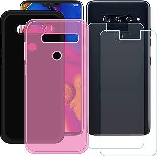 YZKJ [2 stycken skal för LG V40 ThinQ Cover svart + rosa mjuk silikon skyddande skydd TPU skal skal skal + 2 x pansarglas ...