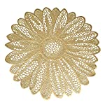 Wintop 15 inch Round Vinyl Placemat Hollow Out Design, Set of 6, Flower Functional Mat for Dining Table Durable Non-Slip,Gold [並行輸入品]