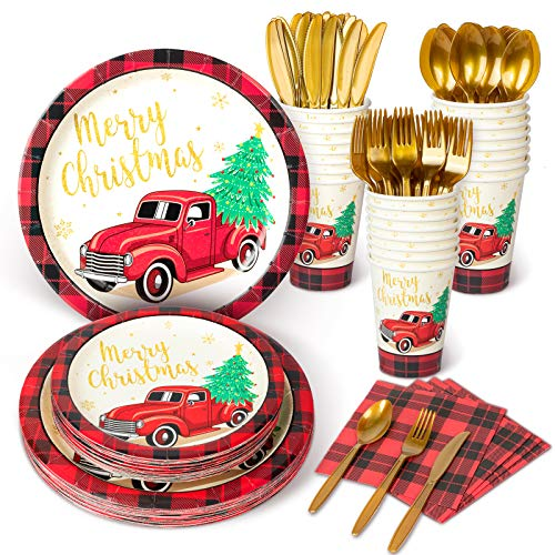 Decorlife Christmas Party Plates with Buffalo Check, Christmas Party Supplies Set, Total 192PCS, 10.25' and 8' Holiday Plates and Napkins, 12oz Party Cups, Cutlery Included – Serves 24