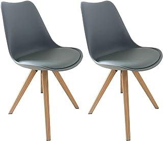 Homexperts KAJA Juego de 2 sillas, Piel sintética, Gris, 48x86x55,5cm
